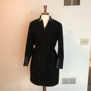H&M Wool Coat W/Faux Leather Trimming Size 14
